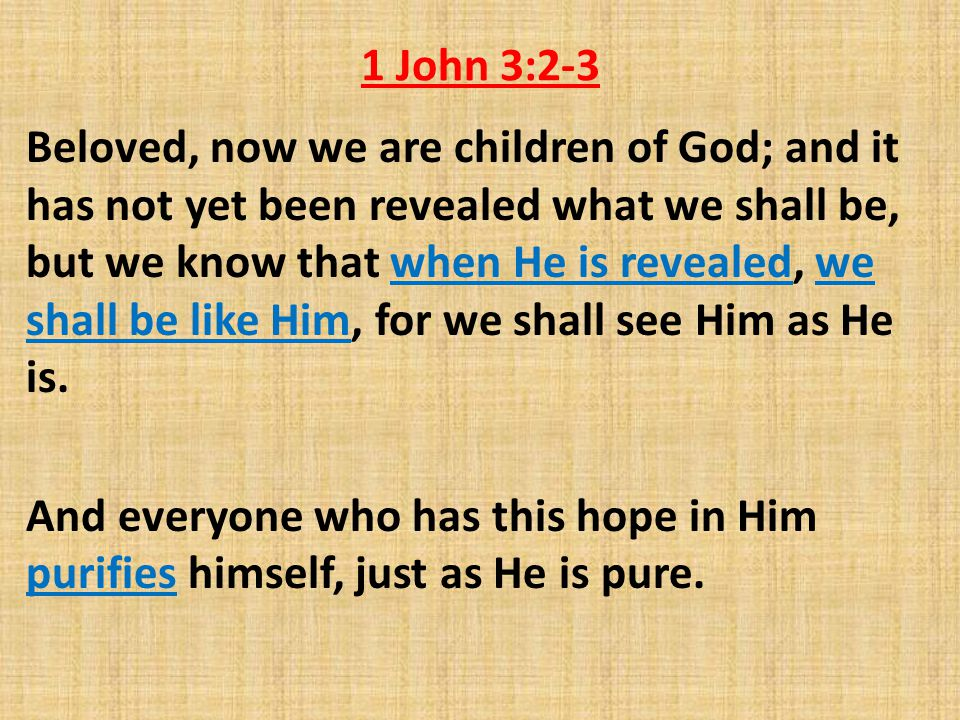 1 John 3:2-3 Beloved, now we are children of God; and it has not yet been revealed what we shall be, but we know that when He is revealed, we shall be like Him, for we shall see Him as He is.
