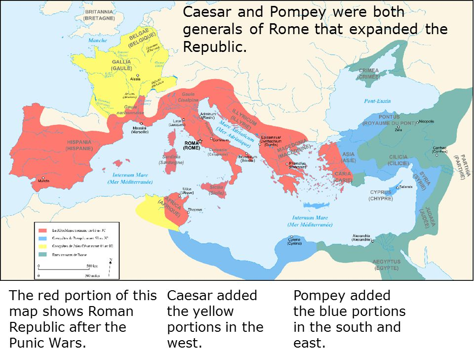 Caesar added the yellow portions in the west.