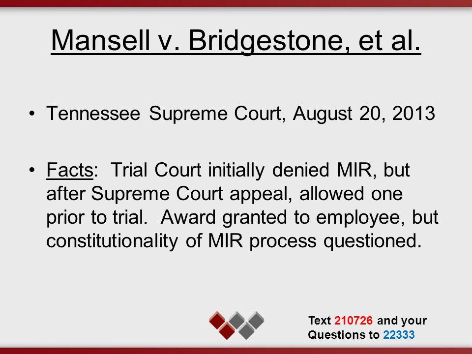 Mansell v.Bridgestone, et al.