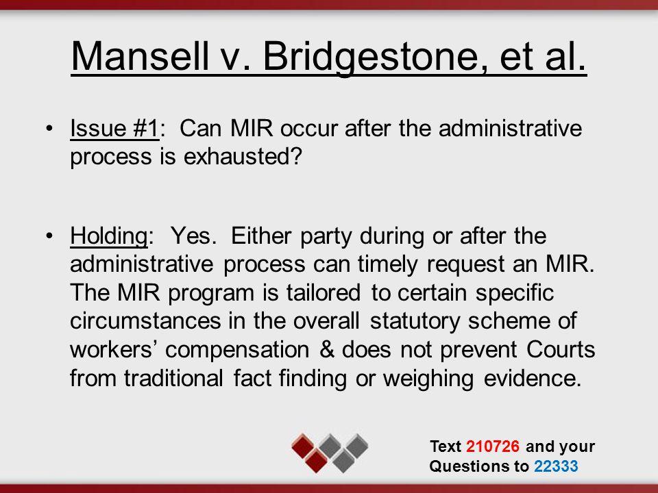 Mansell v. Bridgestone, et al.