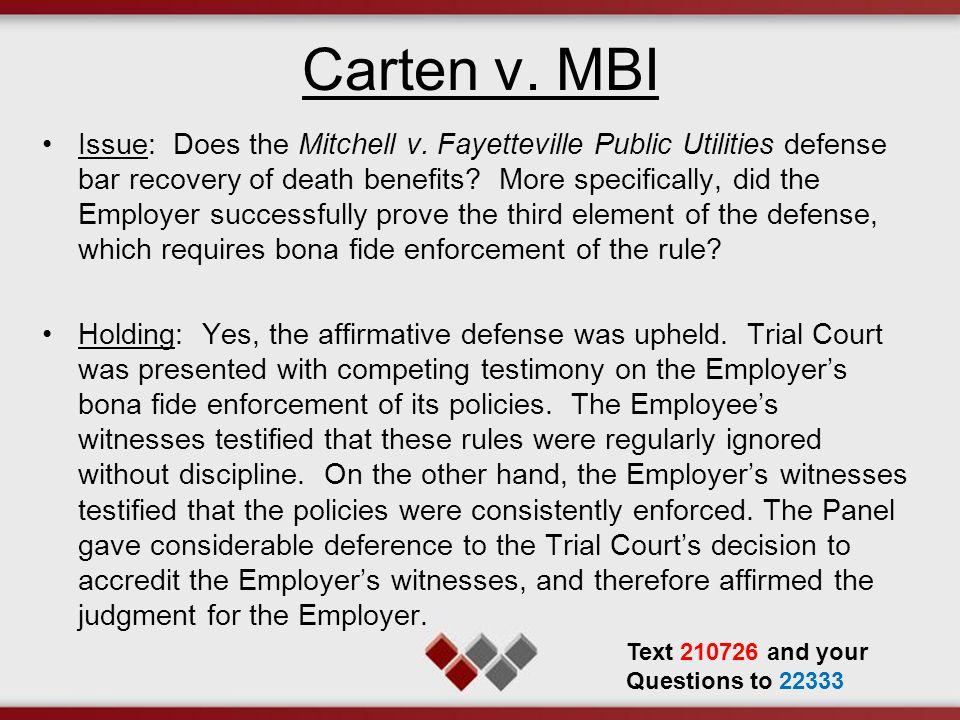 Carten v.MBI Issue: Does the Mitchell v.