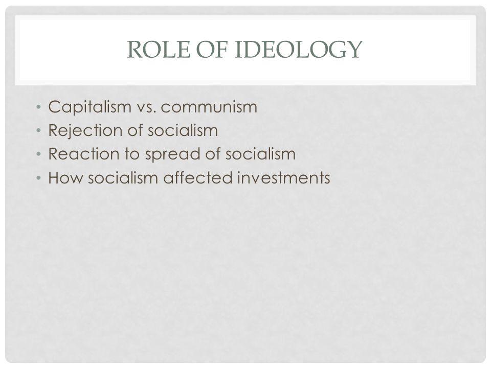 ROLE OF IDEOLOGY Capitalism vs.