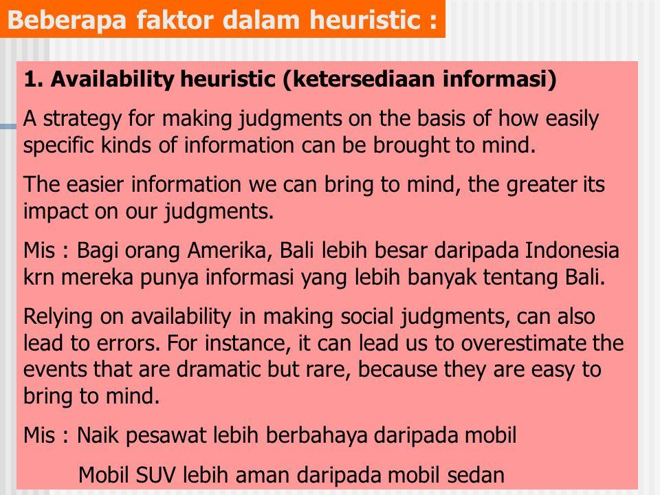 Beberapa faktor dalam heuristic : 1.