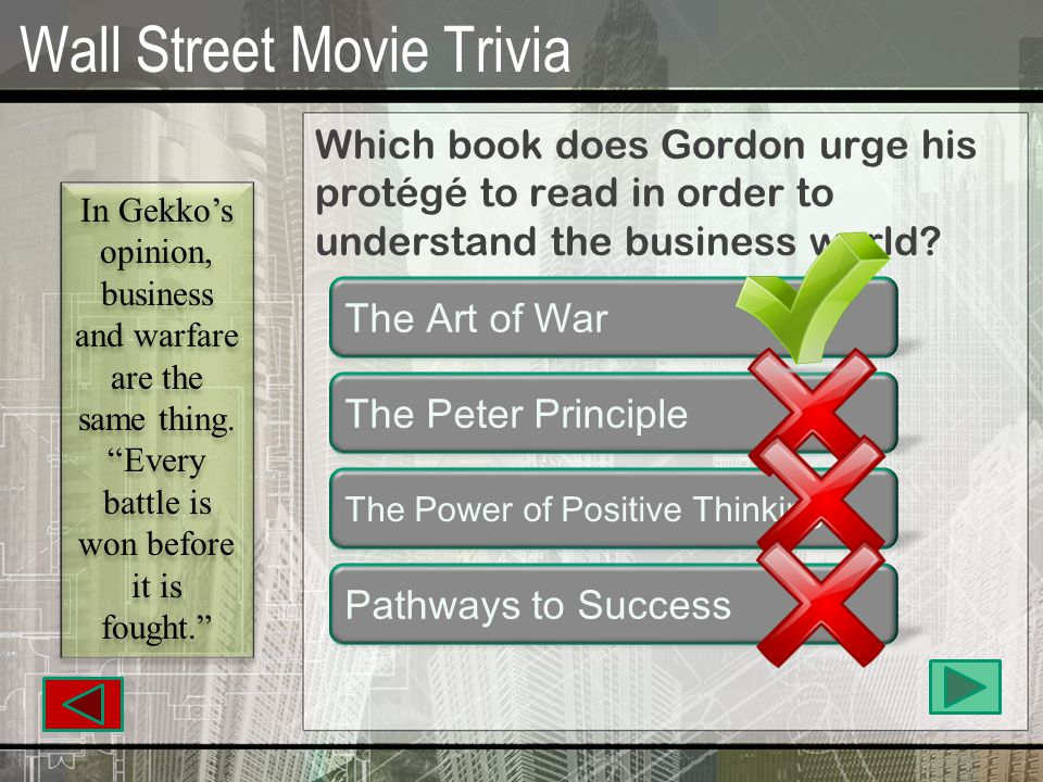 Wall Street Movie Trivia Which college did Gekko attend.