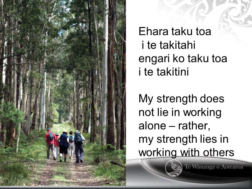 Ehara taku toa i te takitahi engari ko taku toa i te takitini My strength does not lie in working alone – rather, my strength lies in working with others Text Here