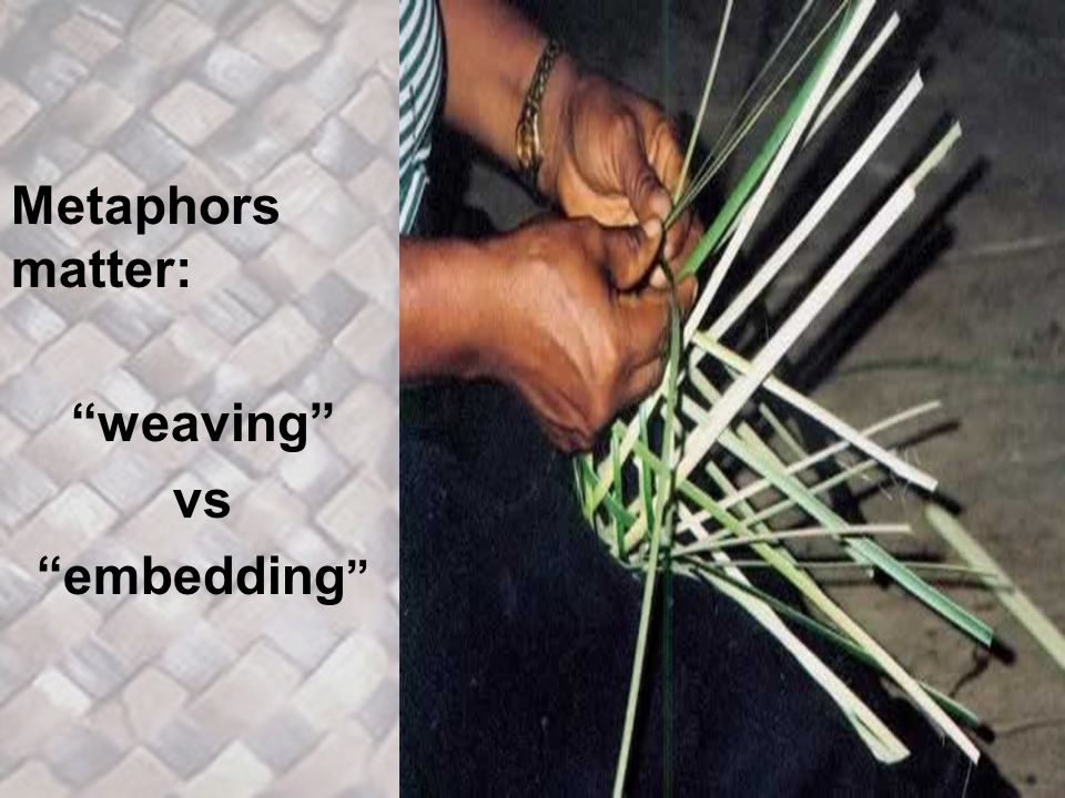 Metaphors matter: weaving vs embedding