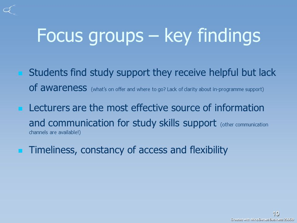 Created with MindGenius Business 2005® 10 Focus groups – key findings Students find study support they receive helpful but lack of awareness (what's on offer and where to go.