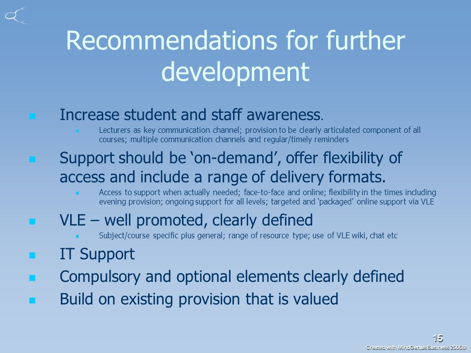 Created with MindGenius Business 2005® 15 Recommendations for further development Increase student and staff awareness.