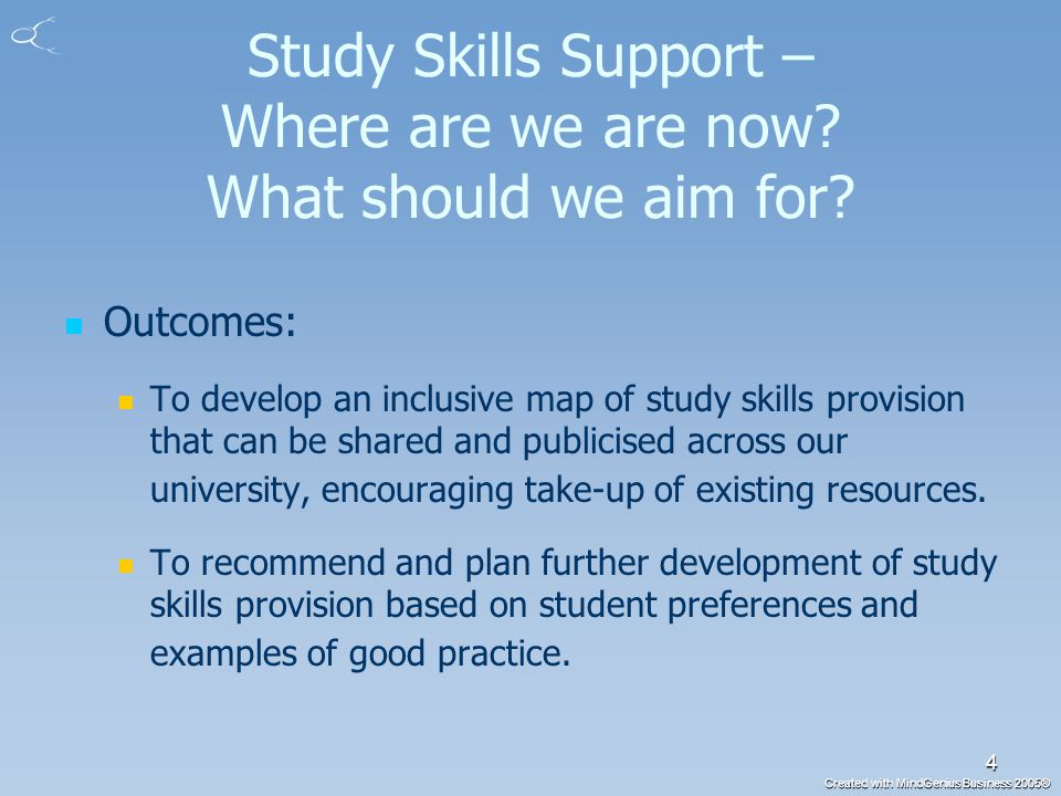 Created with MindGenius Business 2005® 5 Study Skills Support – phase 1 Online survey to assess staff opinion on current provision Methodology Questionnaire distributed to 620 members of staff 122 valid responses (20%) Gathered views on current study skills support and how this might be improved