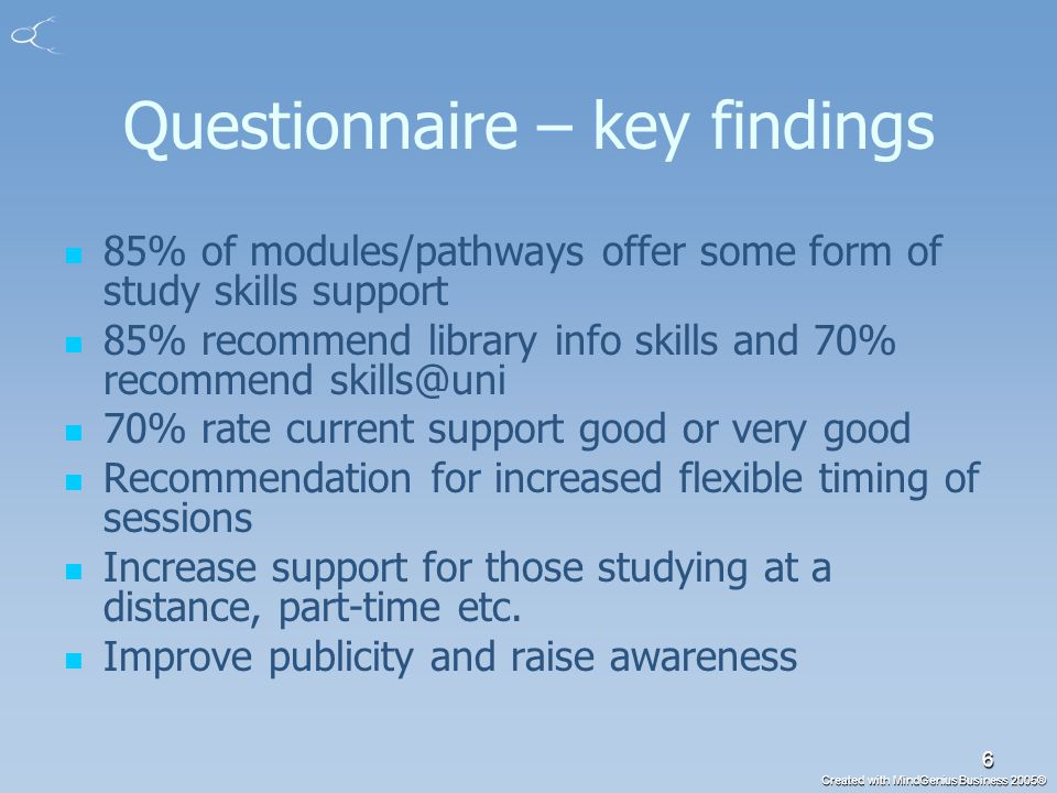 Created with MindGenius Business 2005® 6 Questionnaire – key findings 85% of modules/pathways offer some form of study skills support 85% recommend library info skills and 70% recommend skills@uni 70% rate current support good or very good Recommendation for increased flexible timing of sessions Increase support for those studying at a distance, part-time etc.