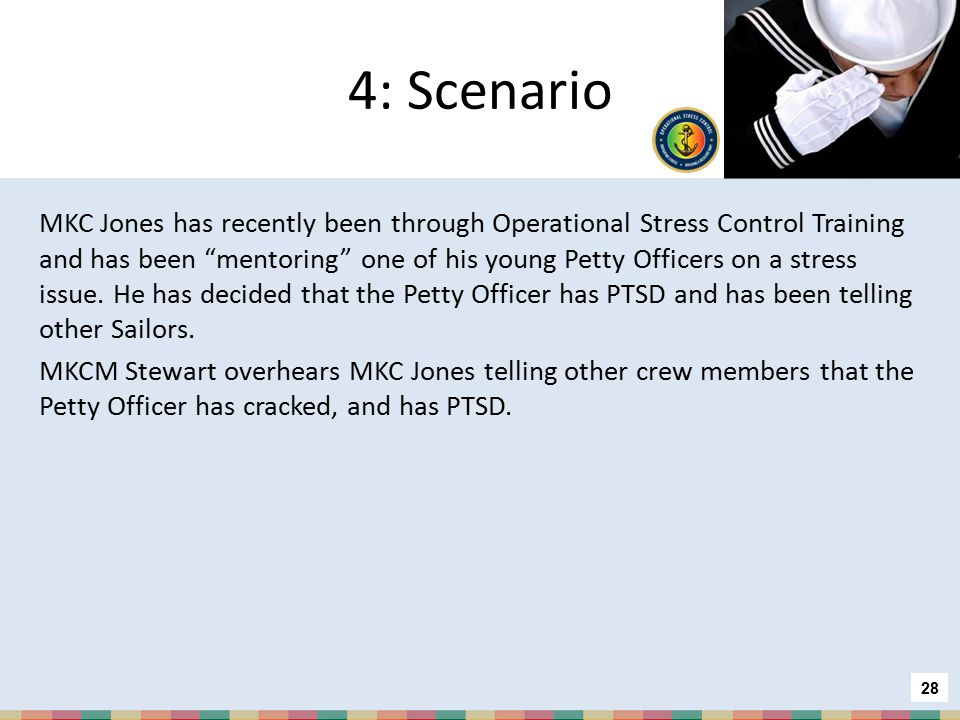 3: Scenario BM3 Ramirez completed alcohol treatment a month ago and is preparing to deploy again. His car is about to be repossessed because he can't