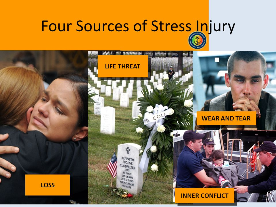 7 WEAR AND TEAR INNER CONFLICT Four Sources of Stress Injury LOSS LIFE THREAT