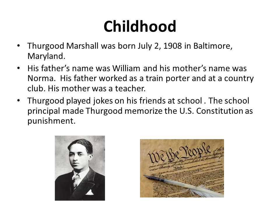 College Years Thurgood went to Frederick Douglass High school in Baltimore and graduated at 16.