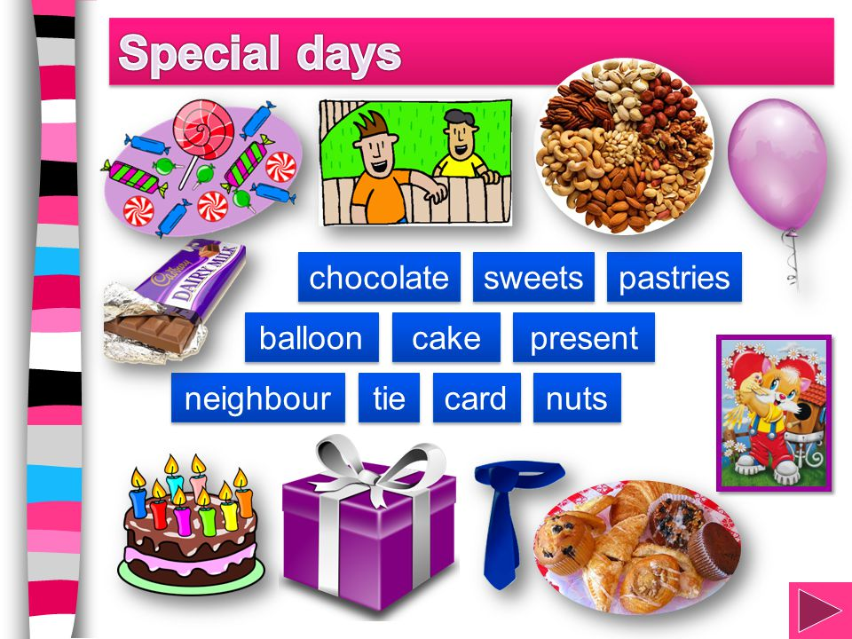 cake chocolate sweets present tie nuts card balloon pastries neighbour