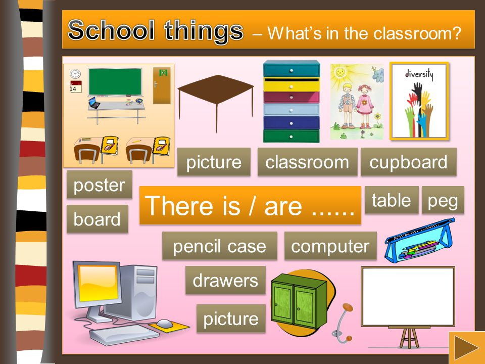 There is / are...... poster picture peg table computer board classroom pencil case picture drawers cupboard