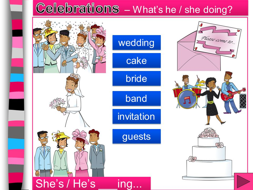 bride wedding band invitation cake guests She's / He's ___ing...