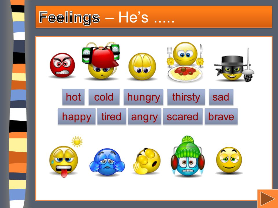 hot cold sad thirsty happy angry tired hungry scared brave