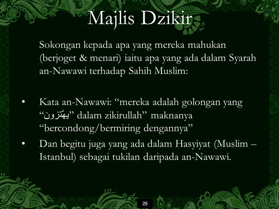 25 Majlis Dzikir Sokongan kepada apa yang mereka mahukan (berjoget & menari) iaitu apa yang ada dalam Syarah an-Nawawi terhadap Sahih Muslim: Kata an-
