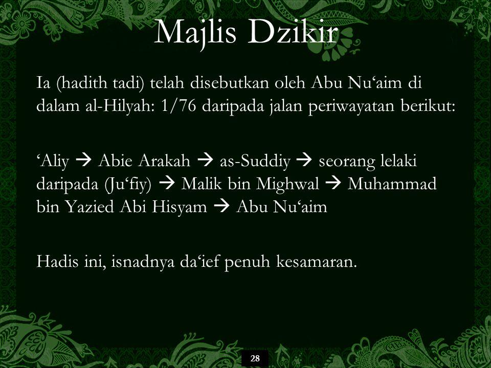 28 Majlis Dzikir Ia (hadith tadi) telah disebutkan oleh Abu Nu'aim di dalam al-Hilyah: 1/76 daripada jalan periwayatan berikut: 'Aliy  Abie Arakah 