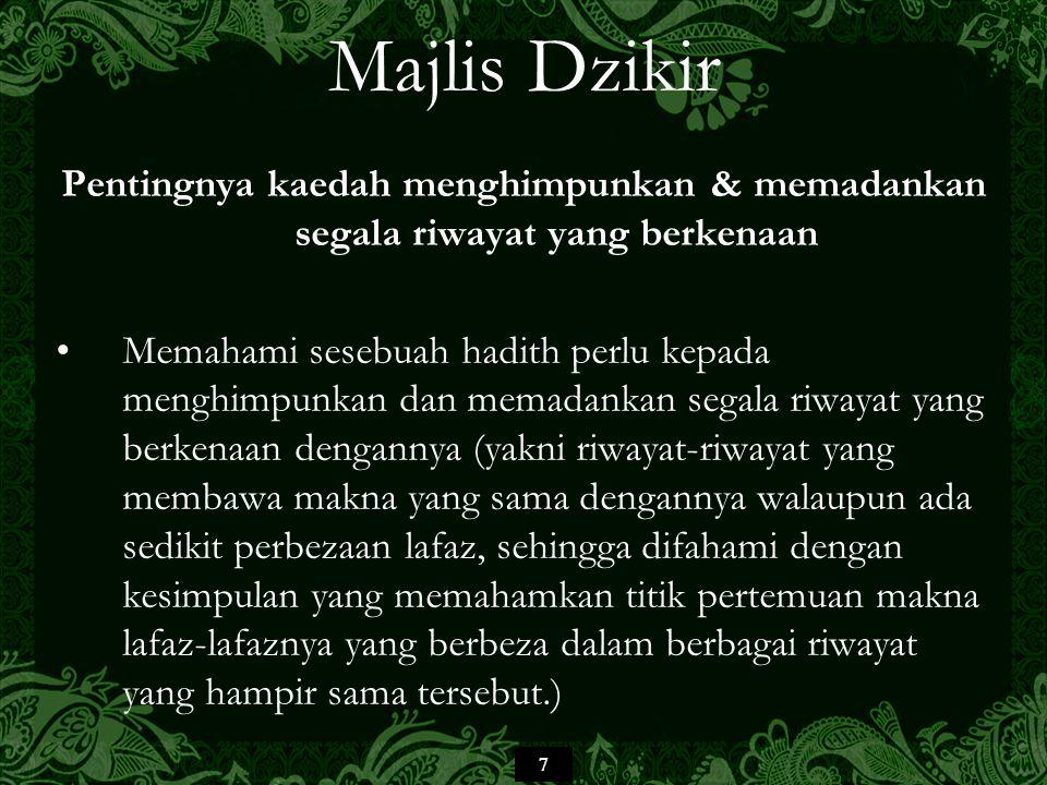18 Majlis Dzikir Imam Muslim di dalam Sahih Muslim, setelah meletakkan Bab Fadl Majalis adz-Dzikir (Kelebihan Majlis-majlis Dzikir), selang dua bab, beliau menempatkan Bab Fadl al-Ijtima' 'ala Tilawat al- Qur'an wa 'ala adz-Dzikr (Keutamaan Berkumpul untuk Tilawah al-Qur'an dan Dzikir) kemudian selepas satu bab lain, beliau memuatkan Bab Istihbab Khafd as-Saut bi adz-Dzikr (Galakan merendahkan/memperlahankan suara dalam berdzikir).