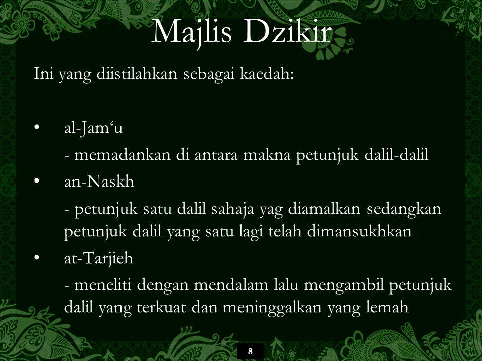 9 Majlis Dzikir al-Hafiz al-Ibn Rajab telah mengumpulkan beberapa riwayat dan kemudian menyimpulkan pemahaman makna Majlis Zikir secara menyeluruh, iaitu difahami dengan Tilawah al-Qur'an dan pembelajaran kandungannya berupa cara bacaan, tafsiran, hukum- hukum dan hikmah-hikmah.
