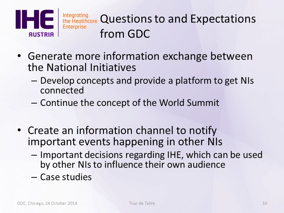 Generate more information exchange between the National Initiatives – Develop concepts and provide a platform to get NIs connected – Continue the concept of the World Summit Create an information channel to notify important events happening in other NIs – Important decisions regarding IHE, which can be used by other NIs to influence their own audience – Case studies GDC, Chicago, 24 October 2014Tour de Table Questions to and Expectations from GDC 10