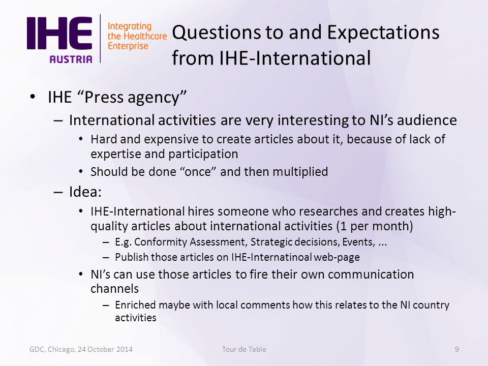 IHE Press agency – International activities are very interesting to NI's audience Hard and expensive to create articles about it, because of lack of expertise and participation Should be done once and then multiplied – Idea: IHE-International hires someone who researches and creates high- quality articles about international activities (1 per month) – E.g.