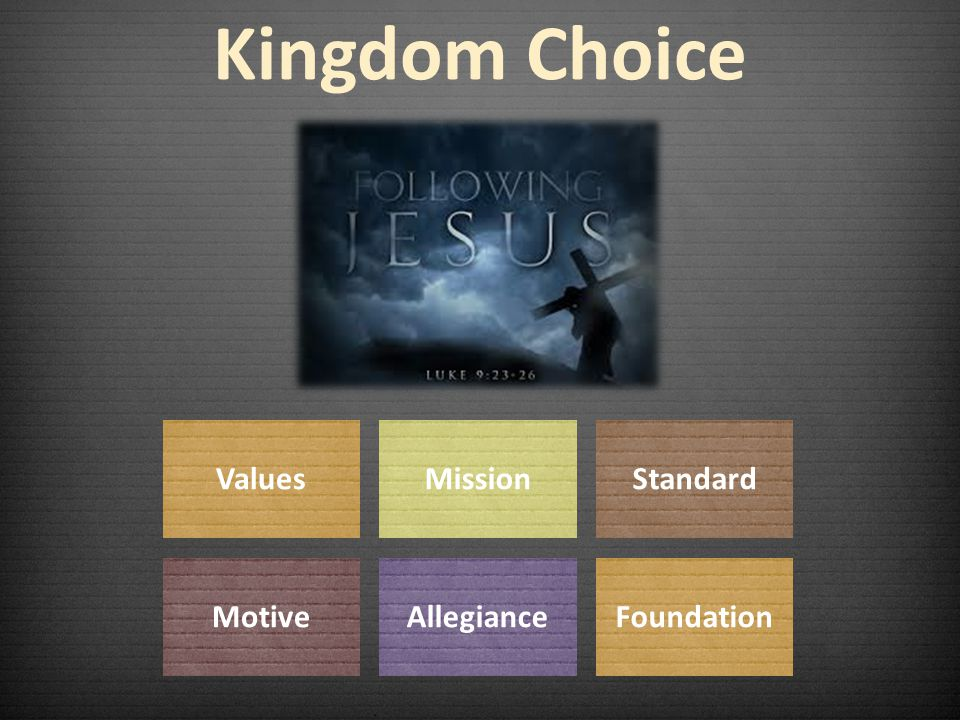 Kingdom Choice ValuesMissionStandard MotiveAllegianceFoundation