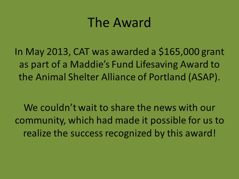 The Award In May 2013, CAT was awarded a $165,000 grant as part of a Maddie's Fund Lifesaving Award to the Animal Shelter Alliance of Portland (ASAP).