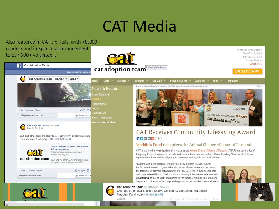 CAT Media Also featured in CAT's e-Tails, with >8,000 readers and in special announcement to our 600+ volunteers
