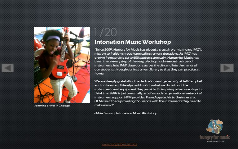 20 20 for Hungry for Music started in 1992 with a street musician concert to benefit the homeless.