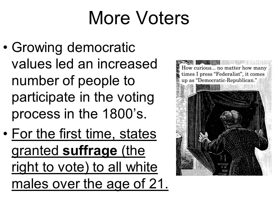 Limits on Suffrage Despite this democratic spirit, many Americans still did not have the right to vote.