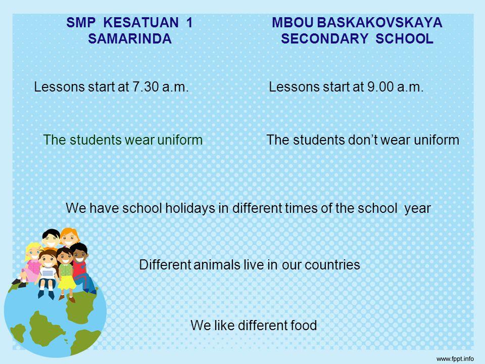 SMP KESATUAN 1 SAMARINDA MBOU BASKAKOVSKAYA SECONDARY SCHOOL Lessons start at 7.30 a.m.Lessons start at 9.00 a.m.