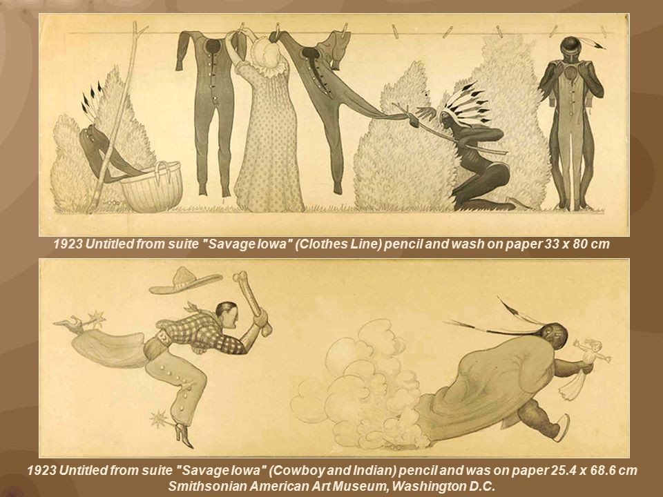 1923 Untitled from suite Savage Iowa (Cowboy and Indian) pencil and was on paper 25.4 x 68.6 cm Smithsonian American Art Museum, Washington D.C.