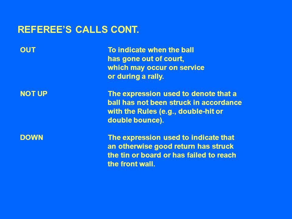 REFEREE'S CALLS CONT.