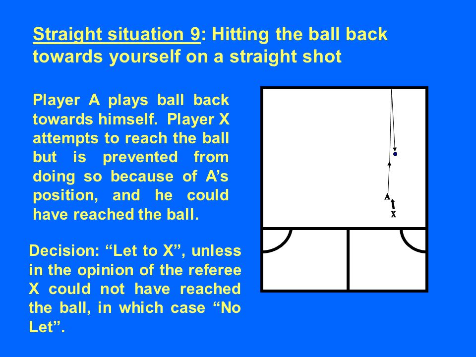 Player A plays ball back towards himself.