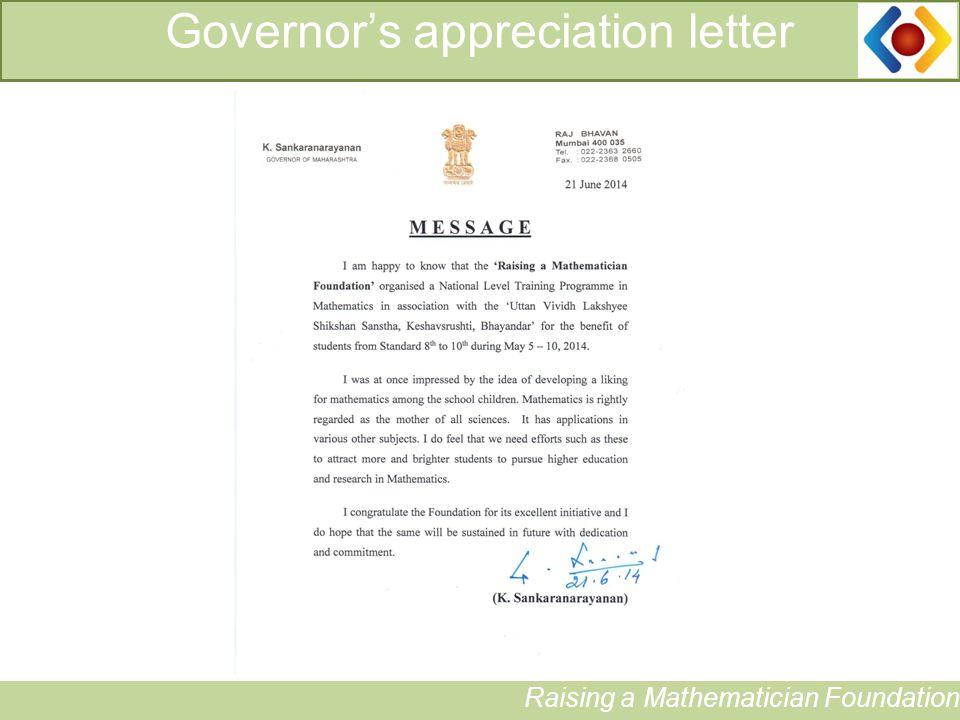 12 Governor's appreciation letter Raising a Mathematician Foundation