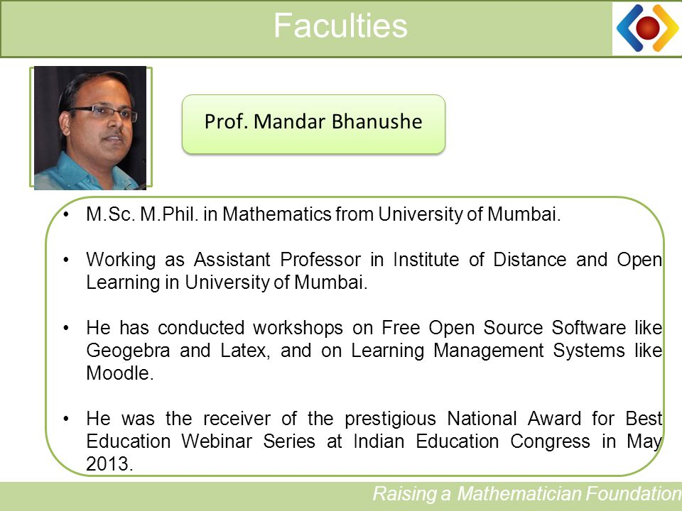 Faculties Raising a Mathematician Foundation Photograph Prof.
