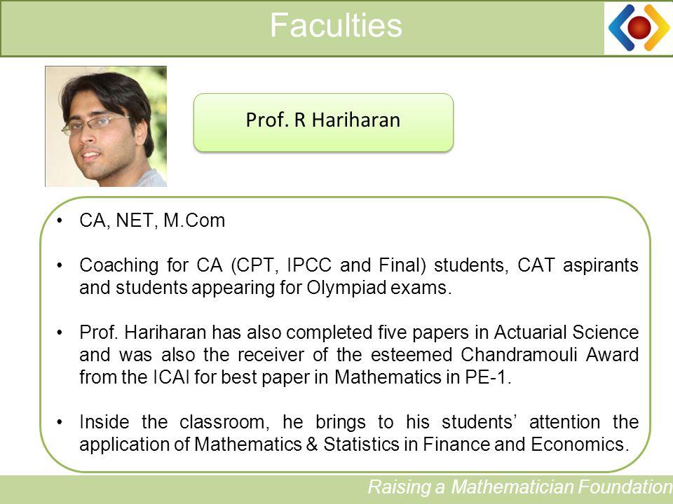 Faculties Raising a Mathematician Foundation Prof.