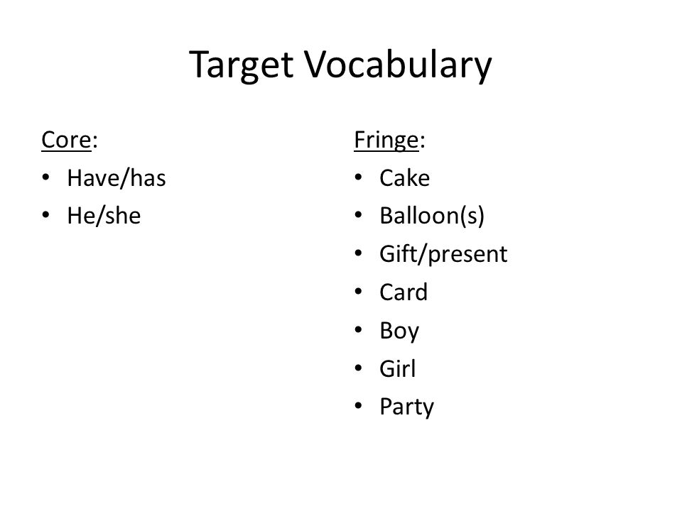 Target Vocabulary Core: Have/has He/she Fringe: Cake Balloon(s) Gift/present Card Boy Girl Party