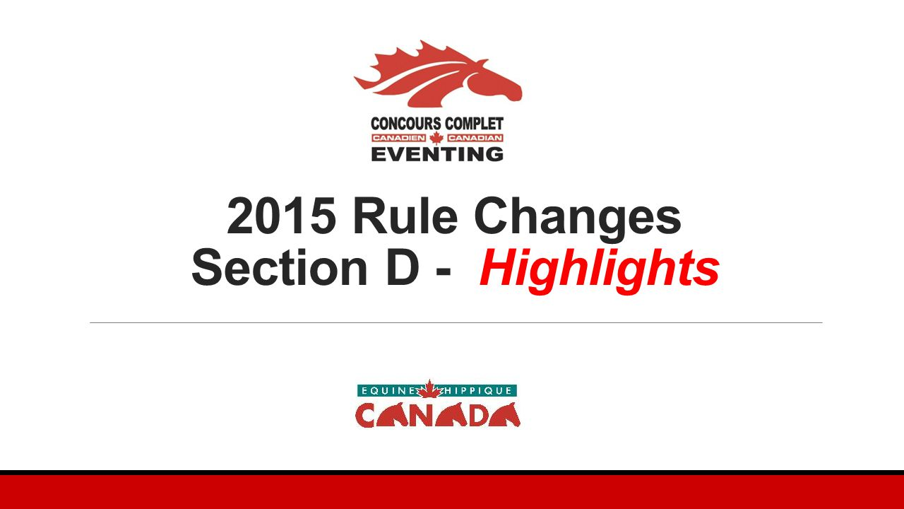 2015 Rule Changes Section D - Highlights