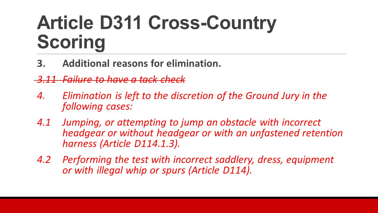 Article D311 Cross-Country Scoring 3. Additional reasons for elimination.
