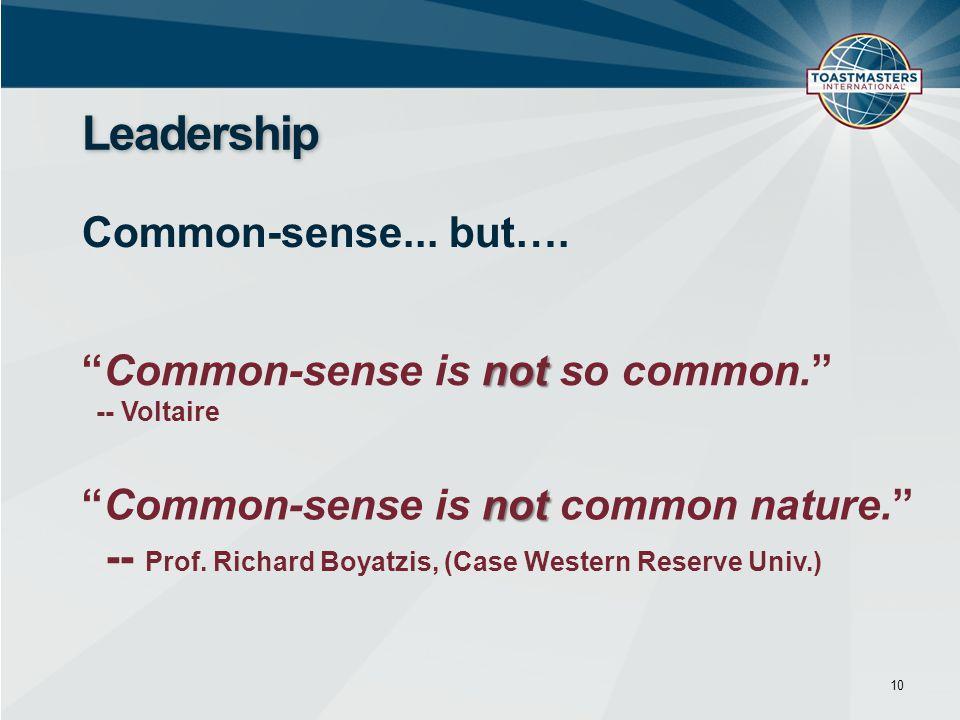 10 Leadership Common-sense... but….
