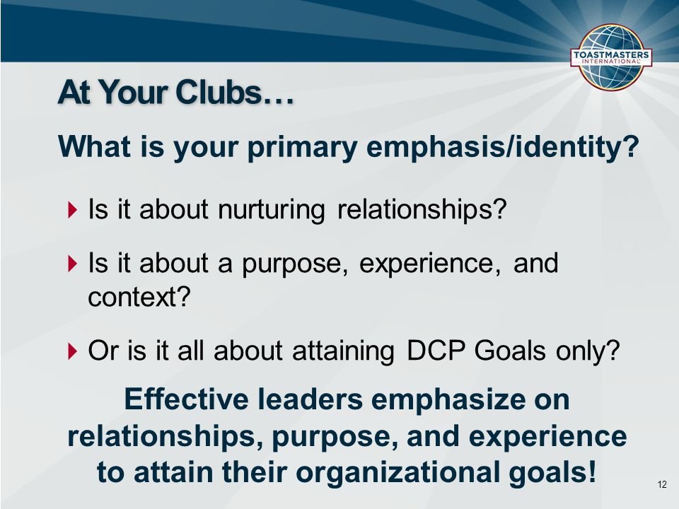 12 At Your Clubs… What is your primary emphasis/identity.