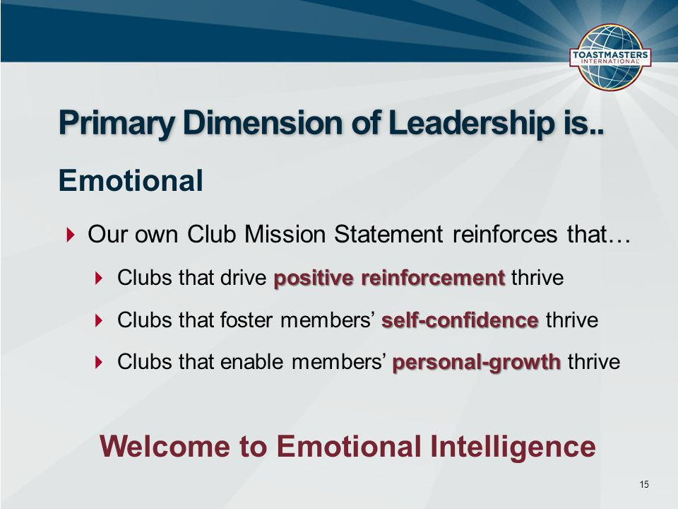  Our own Club Mission Statement reinforces that… positive reinforcement  Clubs that drive positive reinforcement thrive self-confidence  Clubs that foster members' self-confidence thrive personal-growth  Clubs that enable members' personal-growth thrive 15 Primary Dimension of Leadership is..