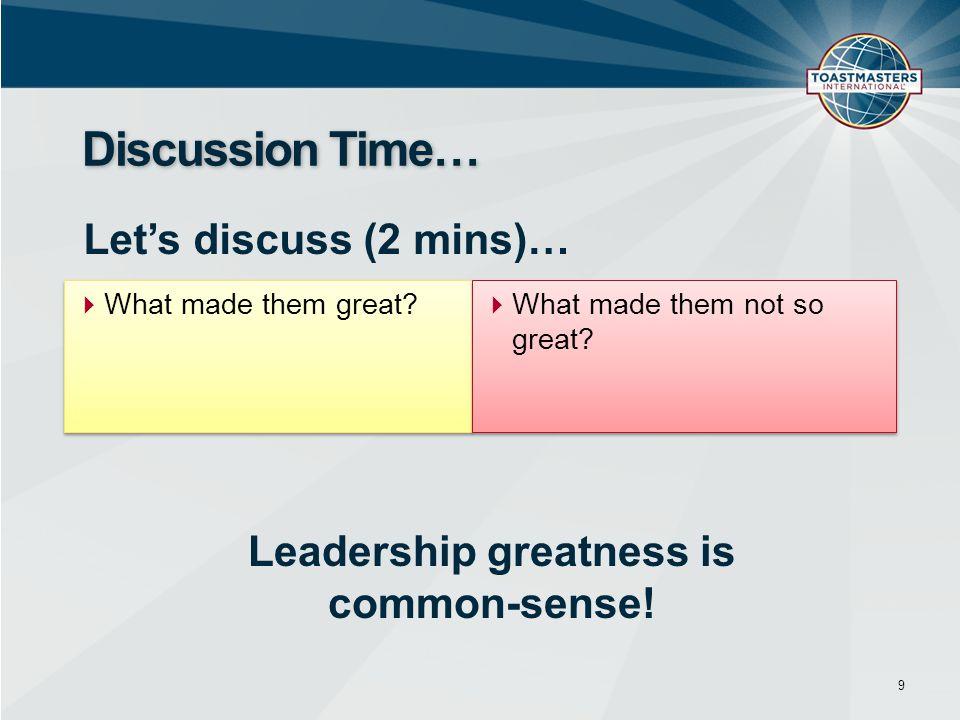 10 Leadership Common-sense...but….