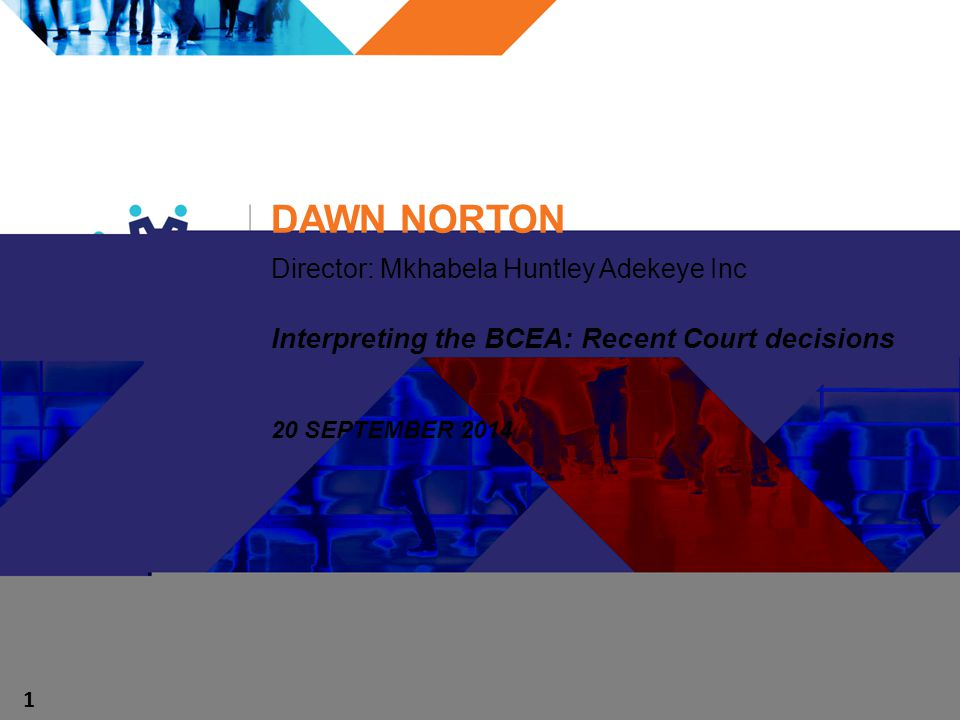 DAWN NORTON Director: Mkhabela Huntley Adekeye Inc Interpreting the BCEA: Recent Court decisions 20 SEPTEMBER 2014 1