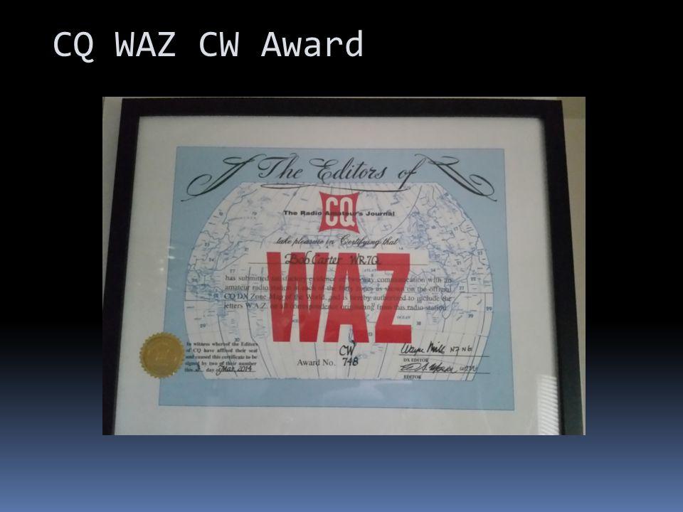 CQ WAZ CW Award