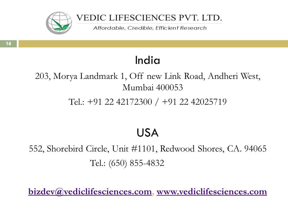 India 203, Morya Landmark 1, Off new Link Road, Andheri West, Mumbai 400053 Tel.: +91 22 42172300 / +91 22 42025719 USA 552, Shorebird Circle, Unit #1101, Redwood Shores, CA.