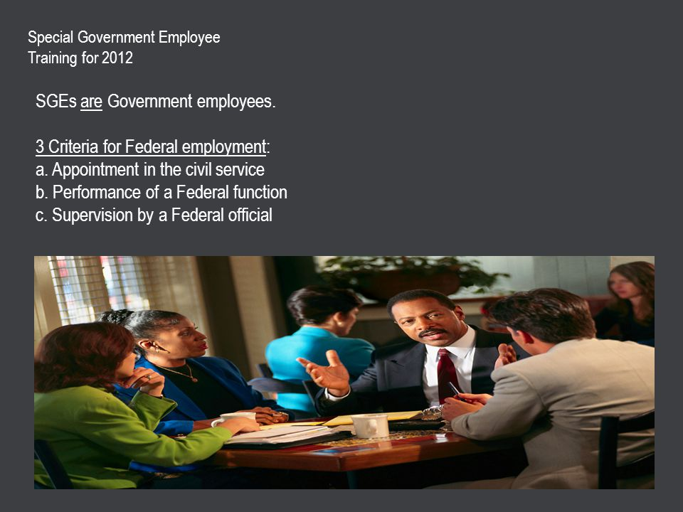SGEs are Government employees.